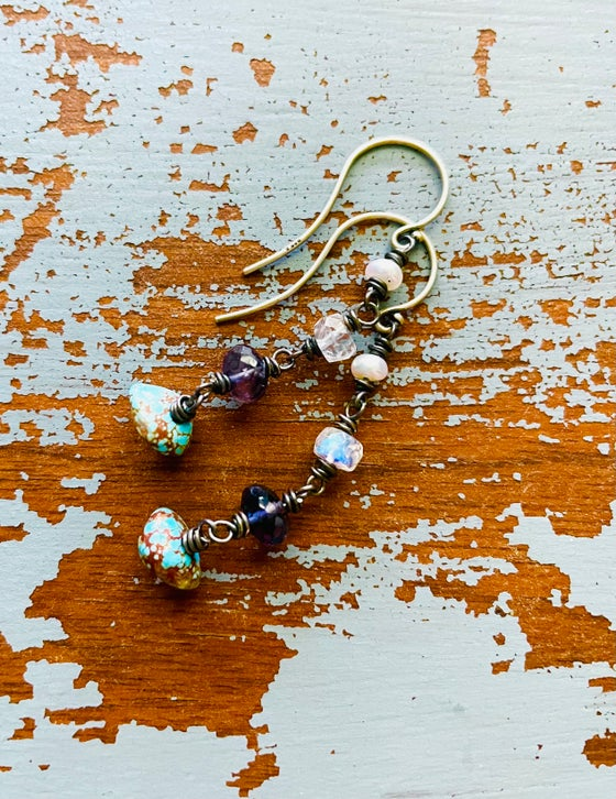 Image of turquoise nugget and iolite dangle earrings