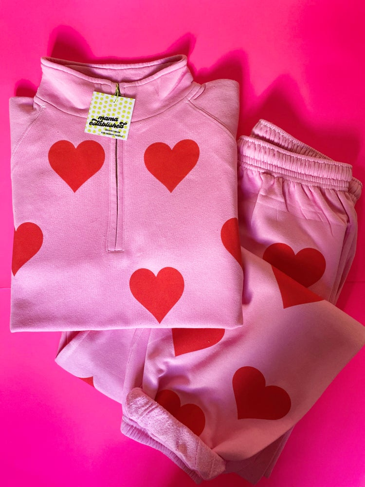 Image of I heart you pink zip up/bottoms