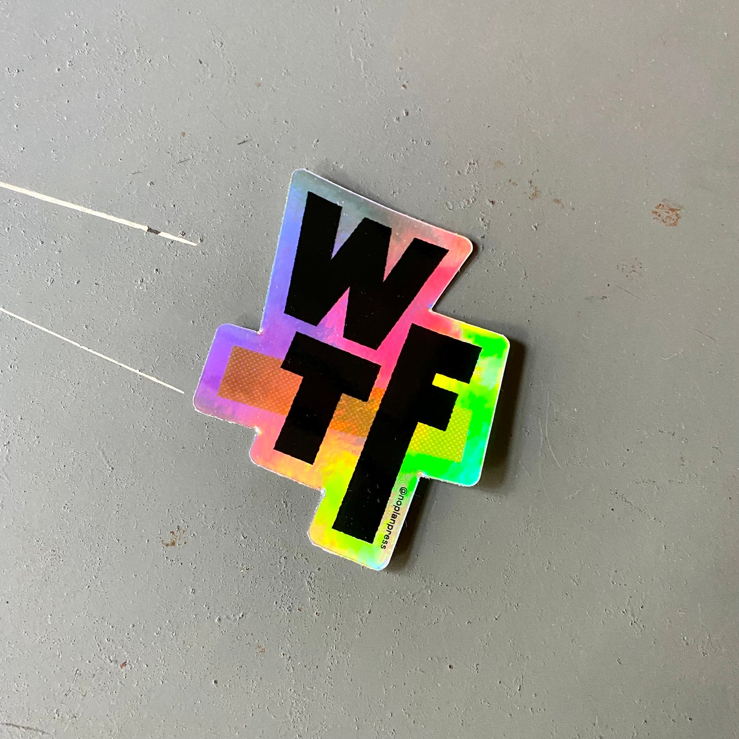 Image of WTF - Holographic Sticler