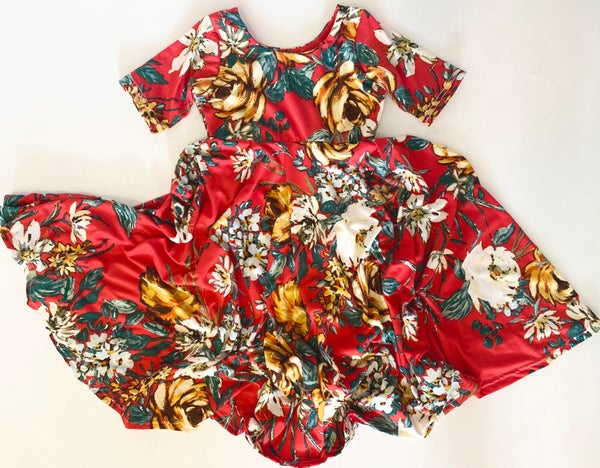 Image of Baby/Girls • Red Floral • Twirly Dress