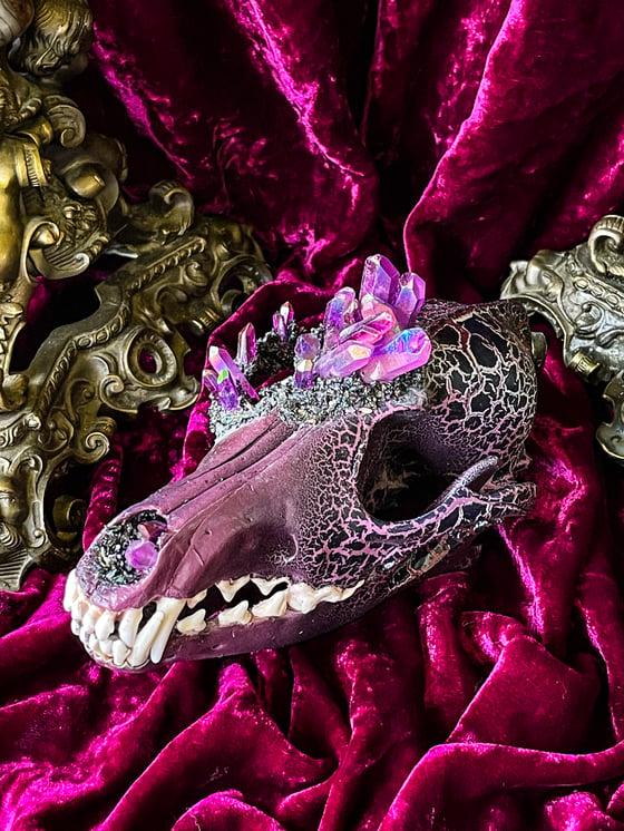Image of Purple Aura Quartz & Carborundum - Coyote Skull