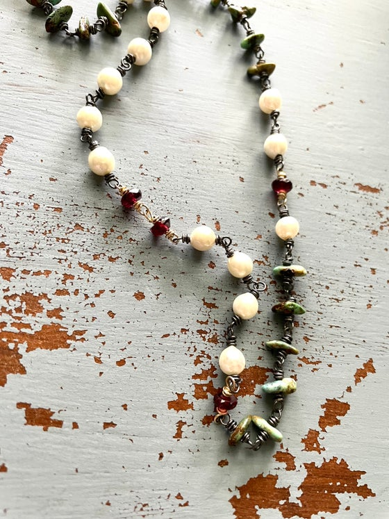 Image of Boho Pearl And Garnet Necklace