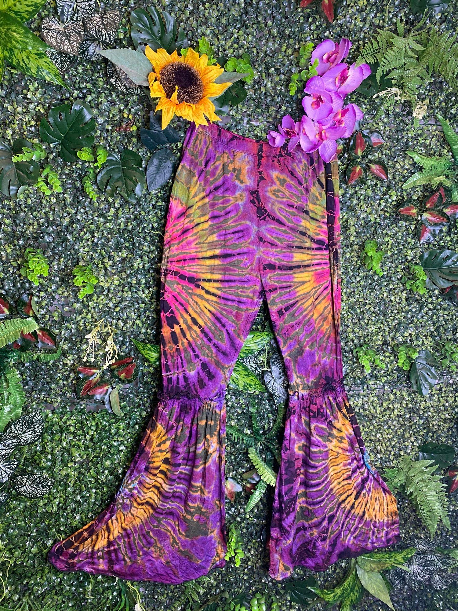 Image of Tie Dye Curve Flares - Santorini