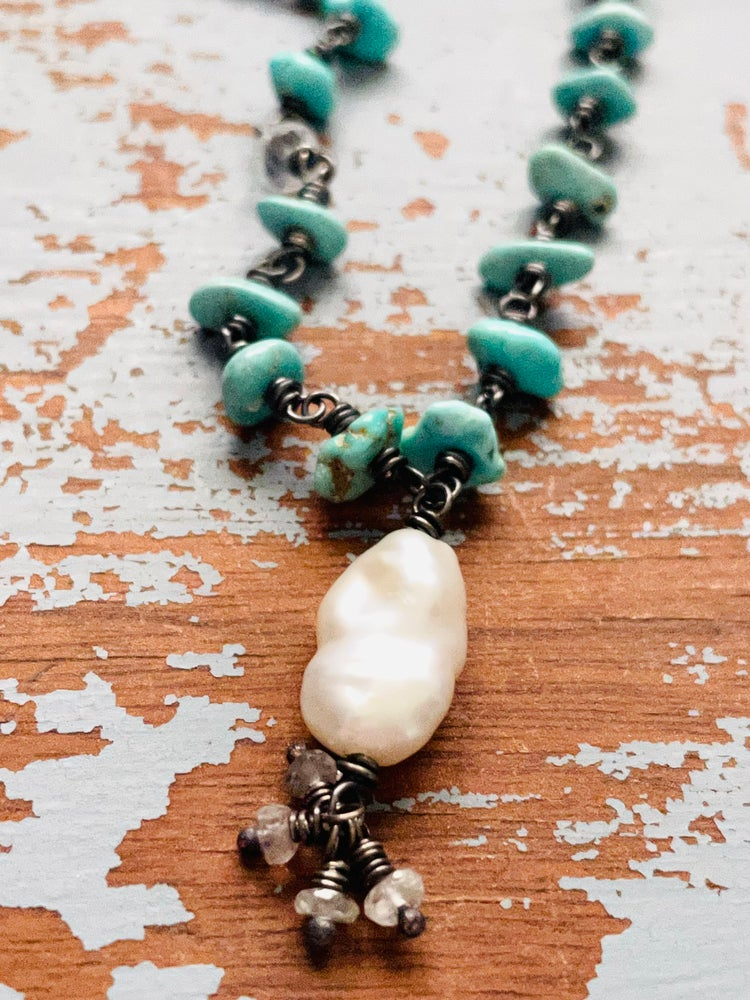 Image of Lone Mountain turquoise necklace with pearl pendant