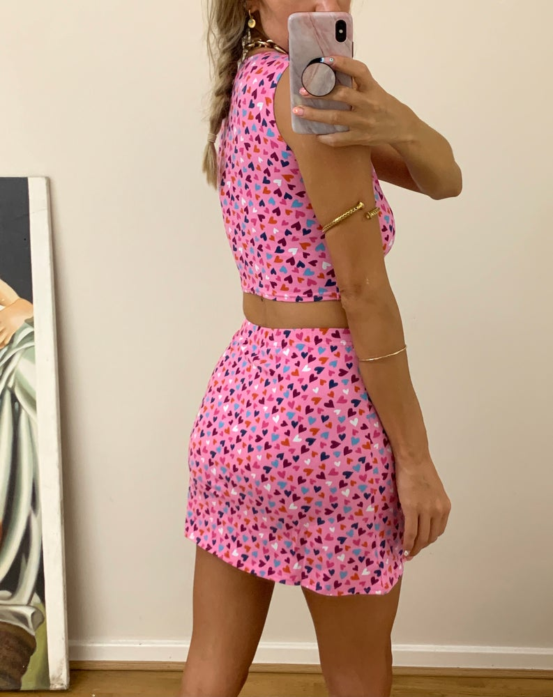 Image of Pink Hearts Tank & Mini Skirt Co-ord