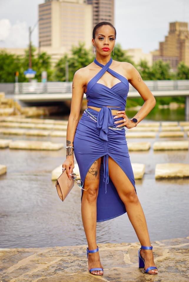 Image of Denim Blue Top & Skirt Set