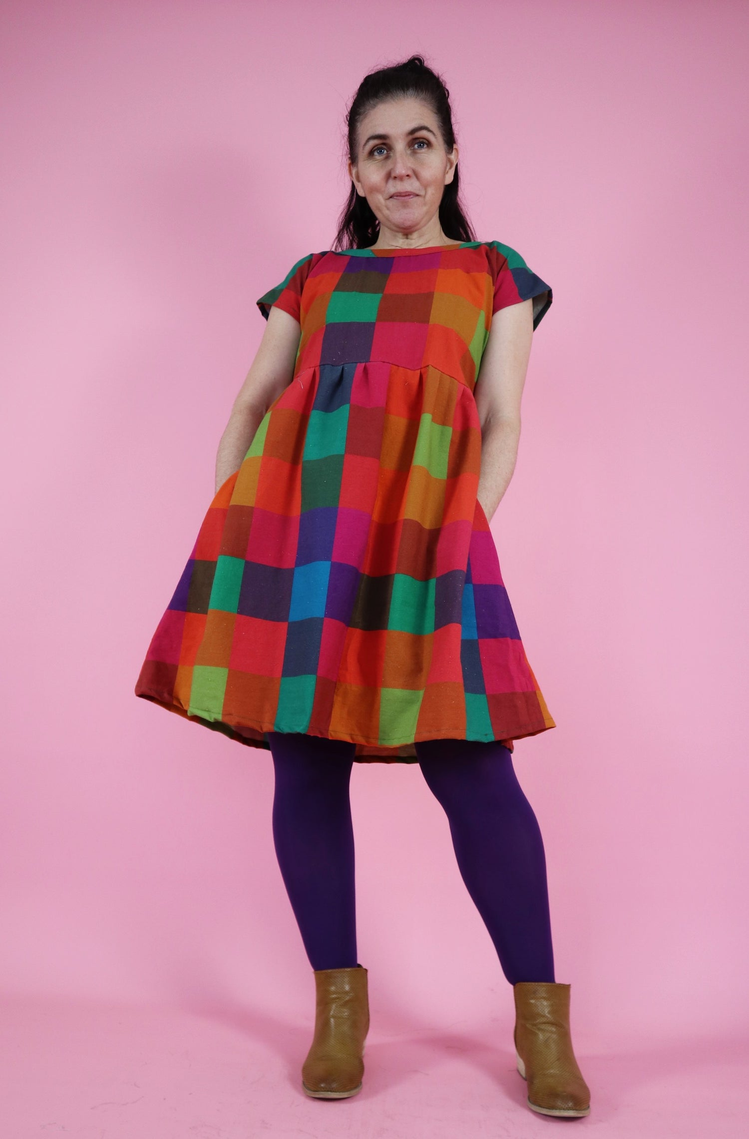 Ready Made Dark Picnic Gingham Julia Dress with free postage