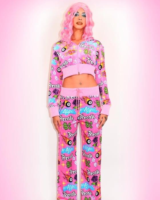 Image of Freak City sticker print velvet track suit