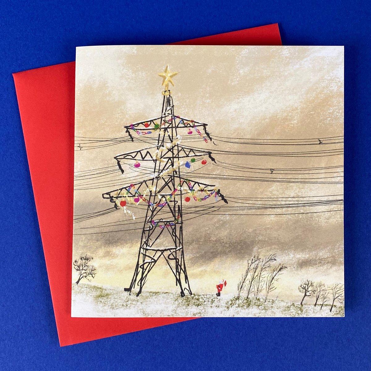 Image of *PREORDER* 'Christmas Pylon' Luxury Greetings card (single or multipack)