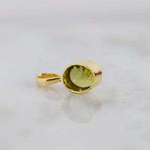 Image of Natural Peridot oval cut 14k gold necklace