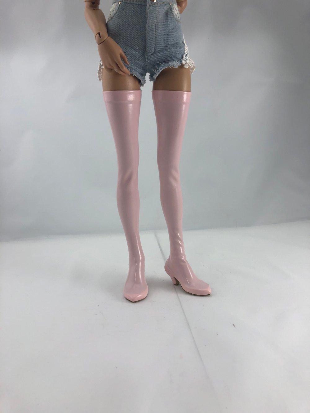 Pink Patent Thigh High Boots: Minifee