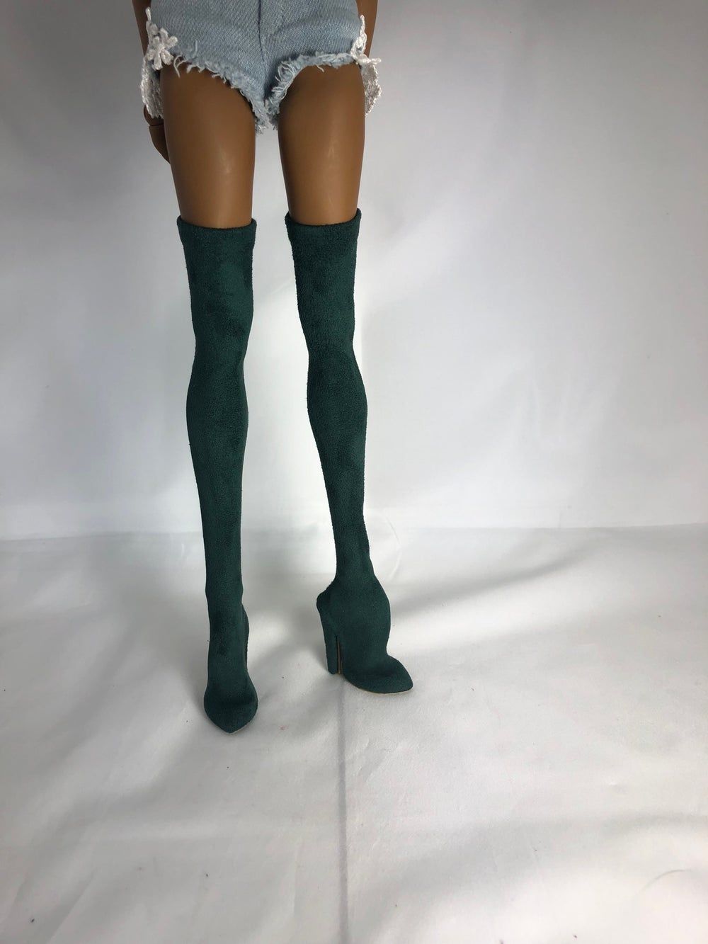 Emerald Suede Thigh High Boots: Pidgin Doll