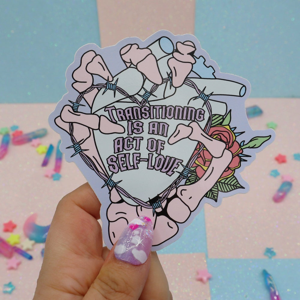 Image of Transitioning Is An Act Of Self Love Large Vinyl Sticker