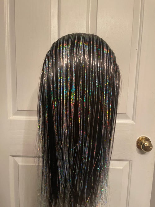 Image of METALLIC SILVER DIAMOND WIG! SILVER HAND CRAFTED 360 LACE WIG!
