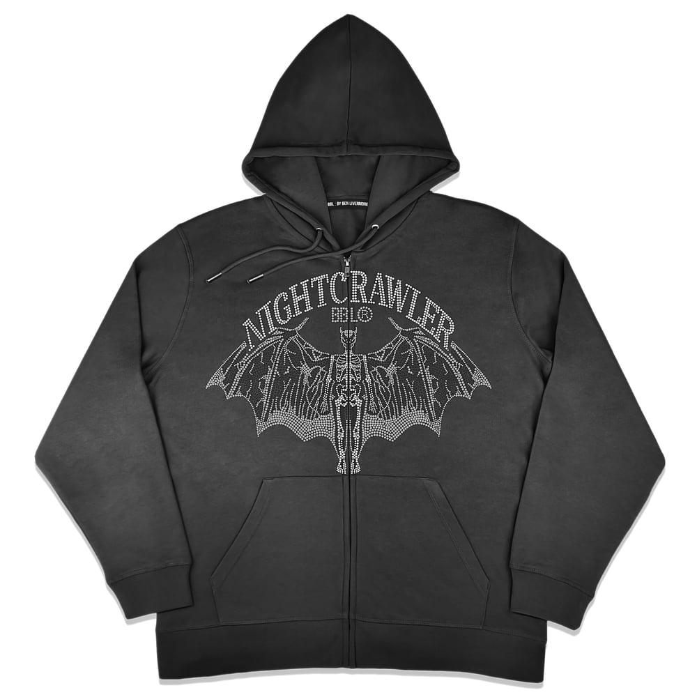 Image of NIghtcrawler Studded Zip Up Hoodie (Black)