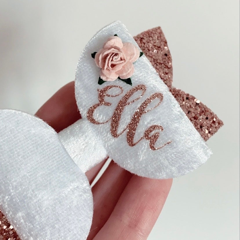 Image of WHITE AND ROSE GOLD GLITZ PERSONALISED