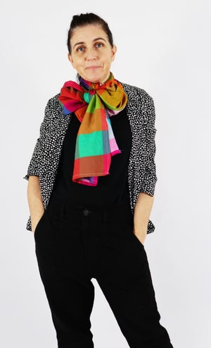 Dark Picnic Gingham Scarf with Free Postage