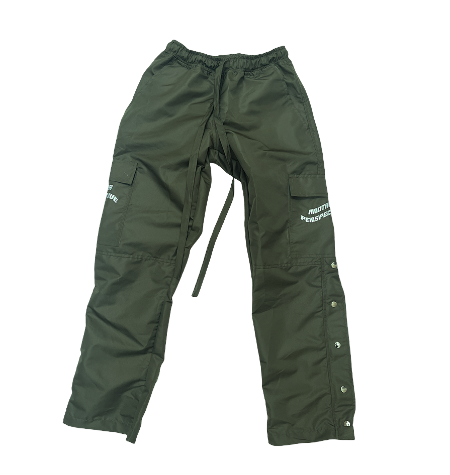 Image of Olive Lightweight Button Zip Pants