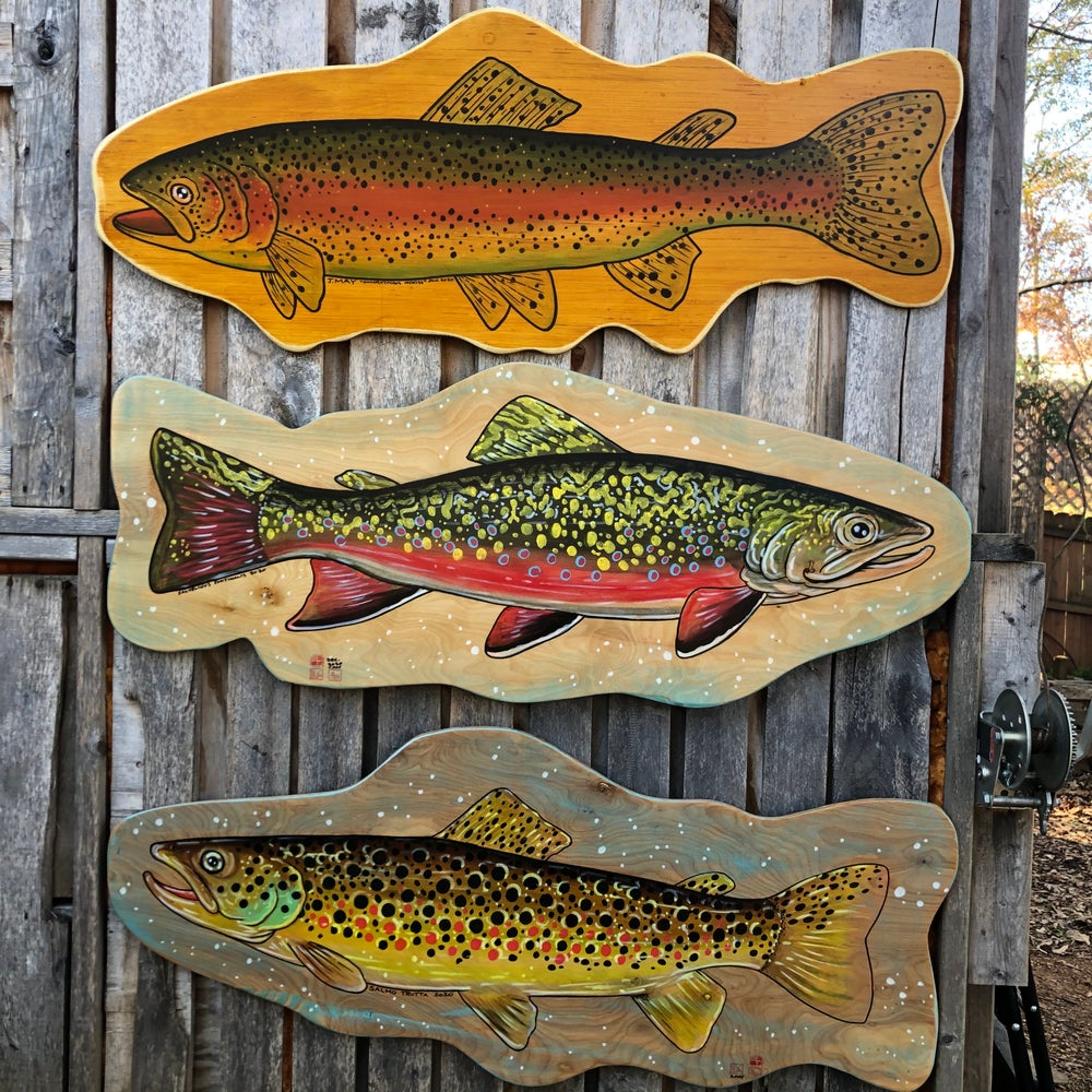Brook Trout Painting on Wood (reclaimed maple)