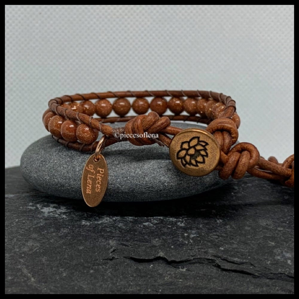 Image of SINGLE WRAP BRACELET - Goldstone Lotus