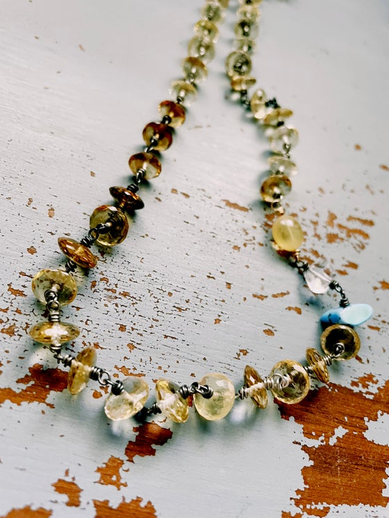 Image of Faceted Citrine Necklace With Golden Hills Turquoise And Opal