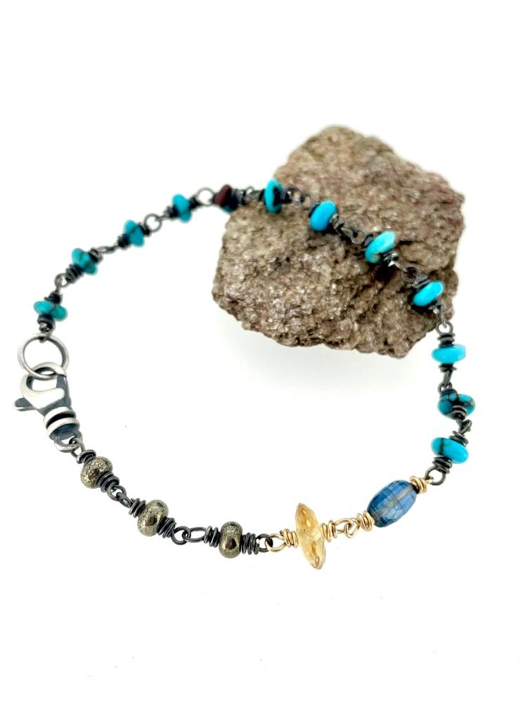 Image of Egyptian turquoise and citrine bracelet