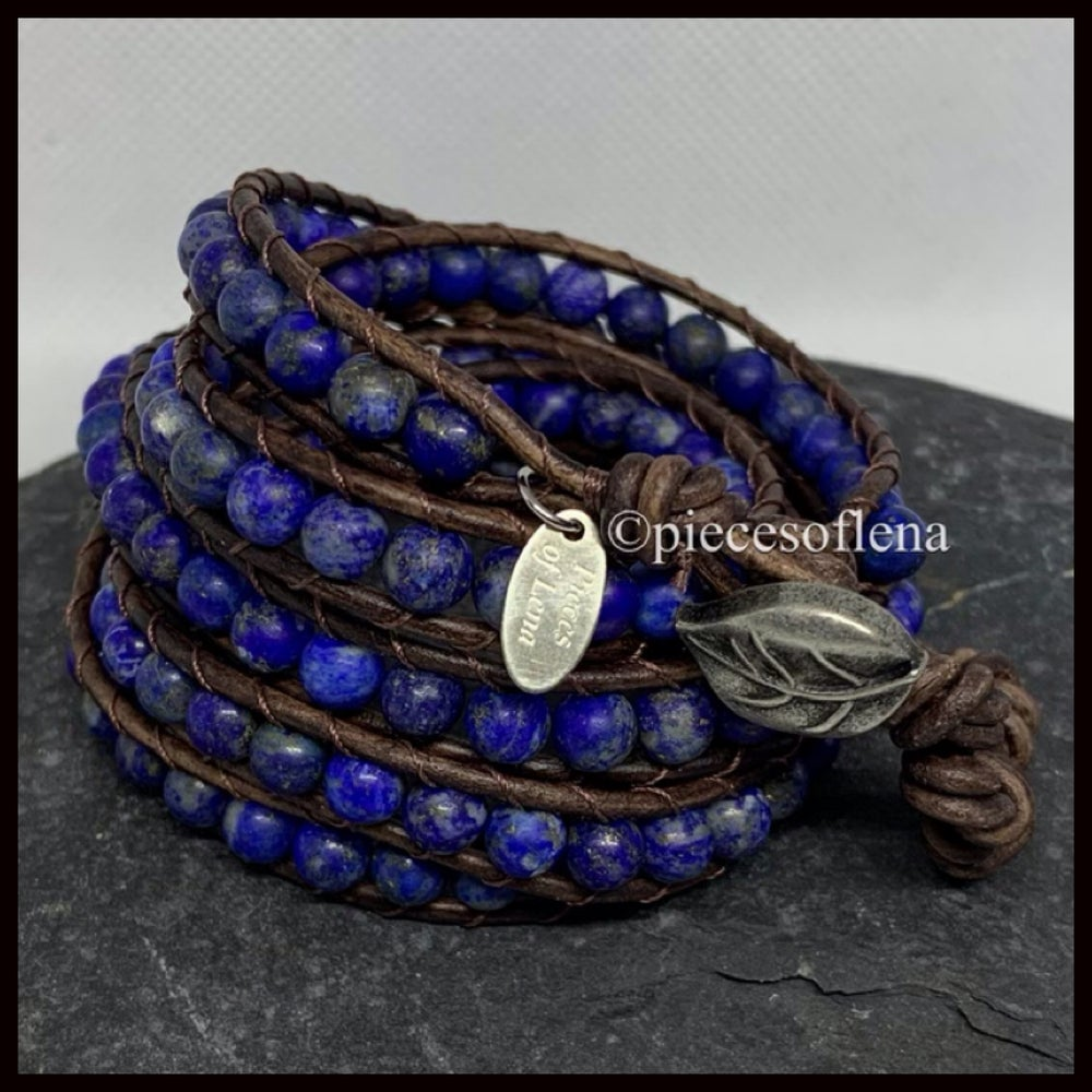 Image of FIVE WRAP BRACELET - Matte Lapis Lazuli Leaf