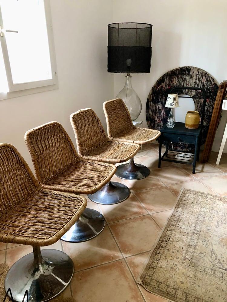 Image of Serie 4 chaises osier pied Tulipe