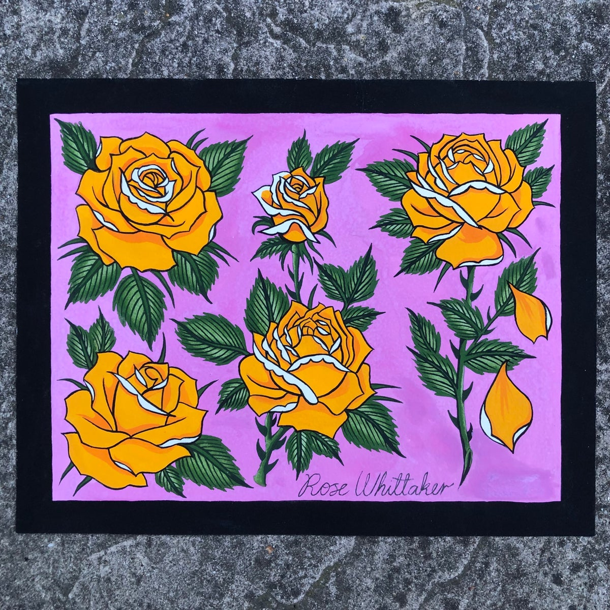 Image of Yellow roses original painting