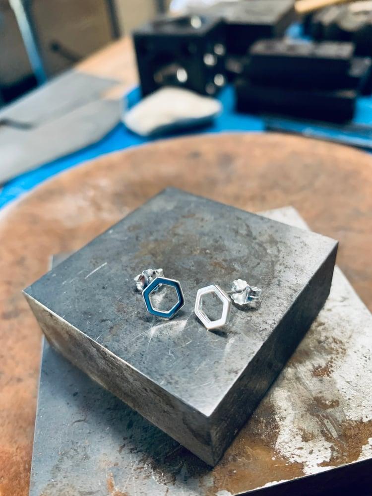 Image of Silver Hex Earrings